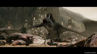 Эовин убивает Короля-чародея. Арагорн приплывает с армией мертвых.