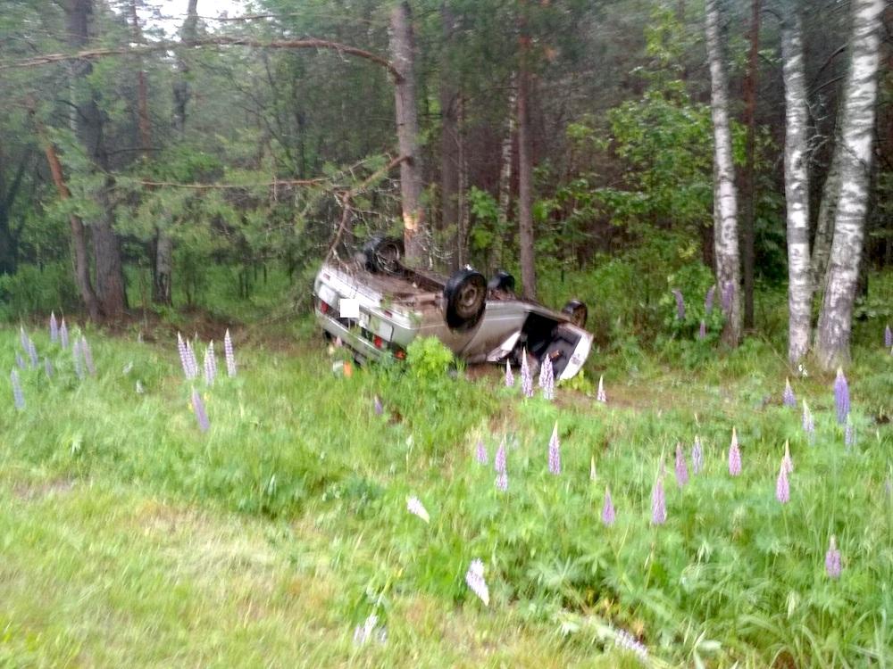 Машина съехала в кювет, перевернулась и врезалась в дерево