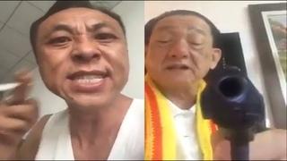 Angry Asian Man Yells At Chinese Man With Gun